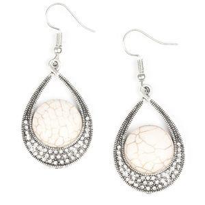 Richly Rio Rancho - White Rhinestone Earrings